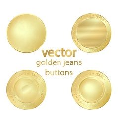 4 gold jeans buttons vector