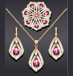 a set jewelry from a brooch pendant and vector image