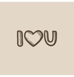 Abbreviation i love you sketch icon vector