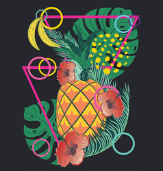 abstract pineapple with exotic leaves vector image