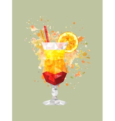 abstract polygonal cocktail glass with watercolor vector image