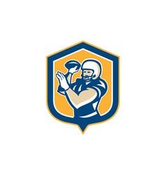 American Football QB Throwing Shield Retro vector image