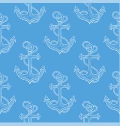 anchor with rope hand drawn sketch on blue vector image