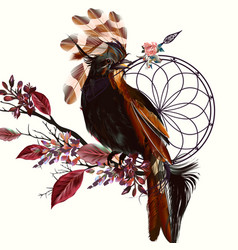 beautiful bird holding arrow and dream catcher vector image