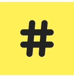 black hashtag icon isolated on yellow background vector image