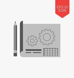 Blueprint project icon Flat design gray color vector