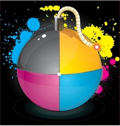Bomb with colourful splashes vector