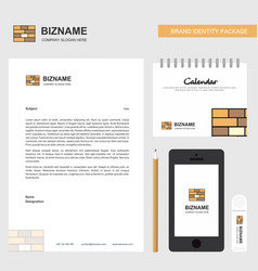 Bricks wall business letterhead calendar 2019 and vector