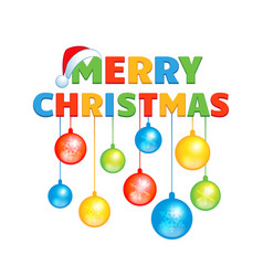 cartoon inscription happy christmas with colorful vector image