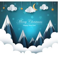 Cartoon paper landscape merry christmas happy vector