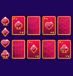 cartoon red four poker game cards and card back vector image