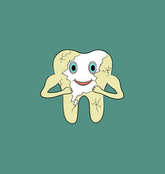 Cartoon tooth gets rid of yellow plaque on enamel vector