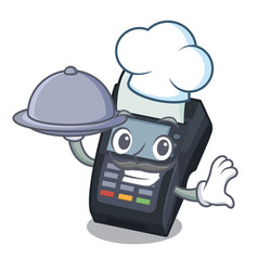chef with food edc machine in cartoon shape vector image