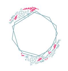 christmas hand drawn wreath geometry frame vector image