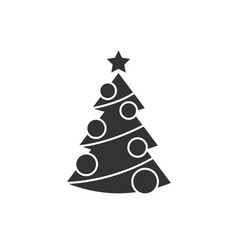 christmas tree with decorations icon vector image