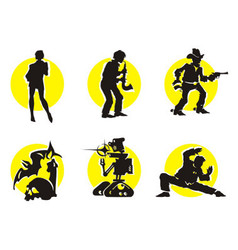 Cinema Silhouettes Icons Girl vector image