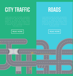 city traffic vertical flyers with highway roads vector image