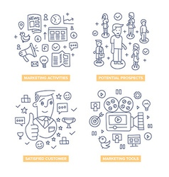Customers Marketing Doodle Concepts vector