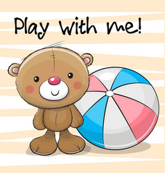 Cute bear with a ball vector