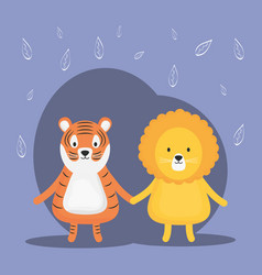 Cute tiger and lion adorable characters vector