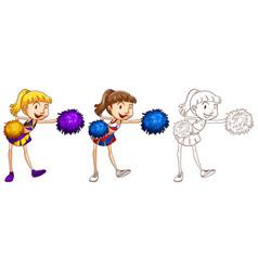 Doodle character for cheerleader vector