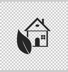 eco house icon isolated on transparent background vector image