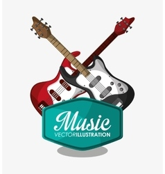 Electric guitar and music design vector
