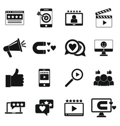 Engaging content icons set simple style vector