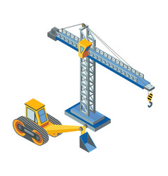 Excavator with bucket lifting crane construction vector