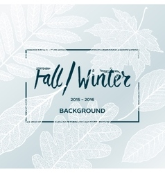 Fall Winter sale poster with leaves background vector