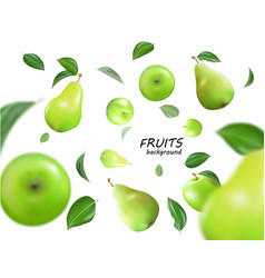 falling green apples and pears isolated on vector image