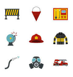 fireman icons set flat style vector image