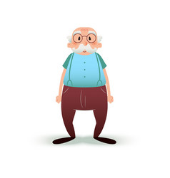 Funny cartoon old man character senior in glasses vector