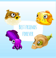 funny poster with image of marine fishes with cute vector image