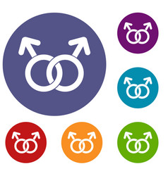 Gay love sign icons set vector