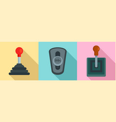 Gearbox icon set flat style vector