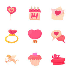 gift for valentine day icons set cartoon style vector image