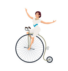 Girl acrobat on bicycle circus carnival show vector