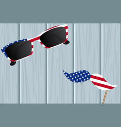glasses and mustache design of the american flag vector image