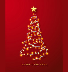 glowing christmas lights wreath on red background vector image