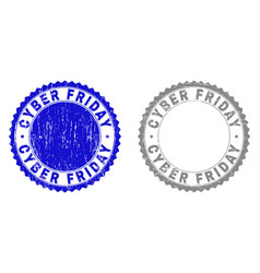 grunge cyber friday textured stamps vector image