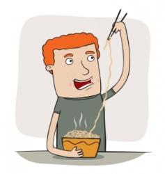 Guy eating noodles vector