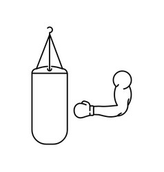 Hand and punching bag vector