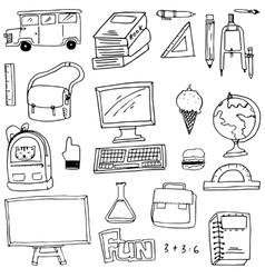 Hand draw school supplies doodles vector