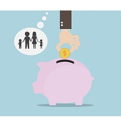 Hand Saving Money for Family Money Saving Concept vector image