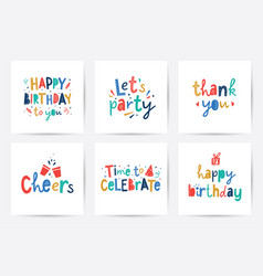 happy birthday set cards with lettering vector image