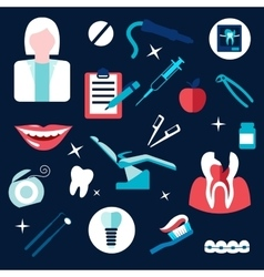 Health and dental themed flat icons vector image