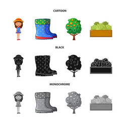 isolated object of farm and agriculture icon set vector image