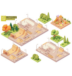 isometric playground and skatepark vector image