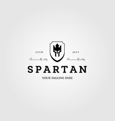 king spartan crown with shield logo design vector image